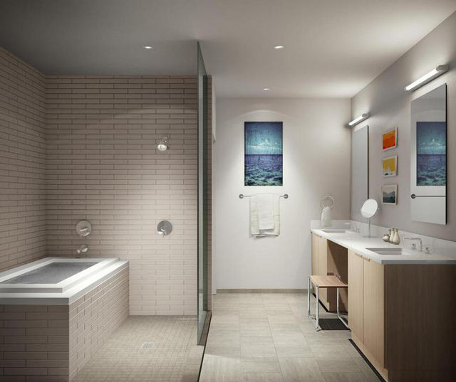 Baths incorporate wet rooms for bath and shower