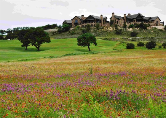 Boot Ranch's clubhouse overlooking golf greens and fields of wild flowers in the spring.