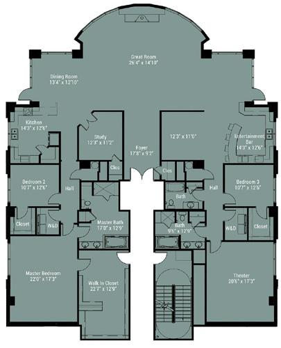 Double-unit penthouse