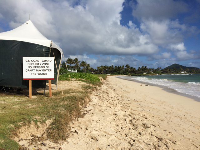 The Secret Service tent on Kailua beach when Obama is in town