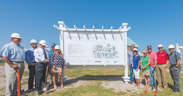 Ground-breaking ceremony for the showhouse which will be open for tours next summer at Cinnamon Shore on Mustang Island. Photos courtesy Cinnamon Shore.