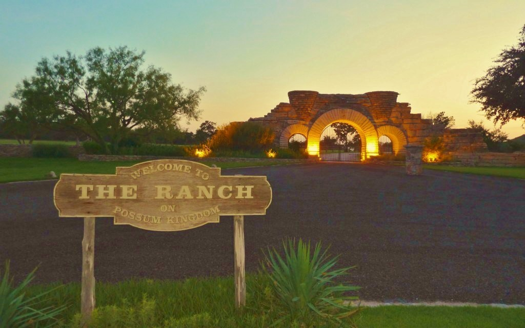 The Ranch stone gated entry.
