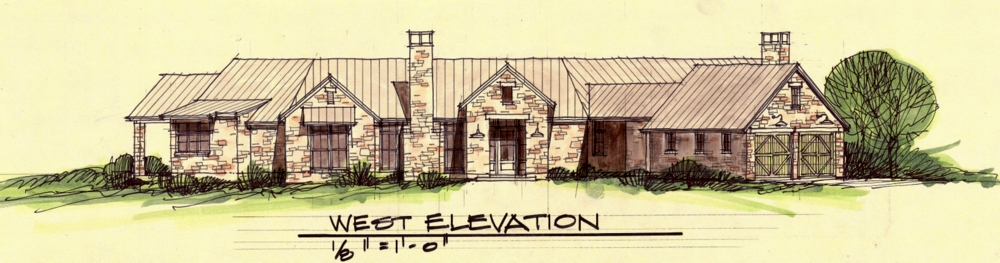 One of several conceptual sketches for Chris Hornbaker's ranch home at his sustainable North Texas vineyard takes advantage of the 360-degree views of the rolling hills of Collin County.