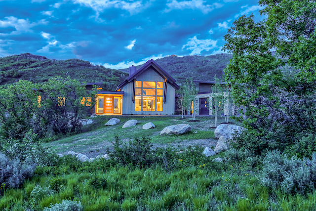 Lot 12 Summer 2019 Twilight Exteriors 7 1 - Horseplay: Equestrian Facilities Add Rustic Charm to Luxury Colorado Ranch Development in Steamboat Springs, Colorado