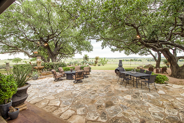 Two oak trees inspired the ranch house's original location.