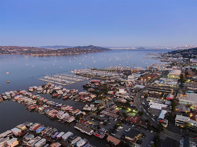 The houseboat is located in picturesque Richardson Bay.