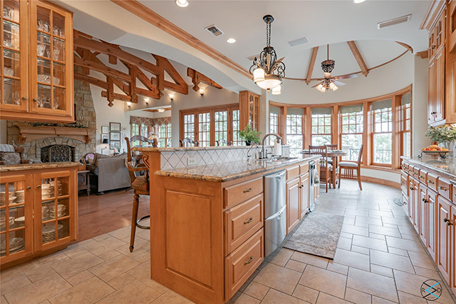Maple wood is a theme throughout the lake home.